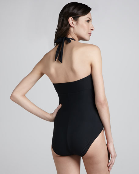 Belted Beauty Retro V-Neck One-Piece Swimsuit