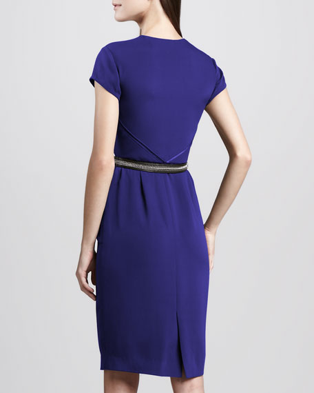 Zip-Front Belted Dress