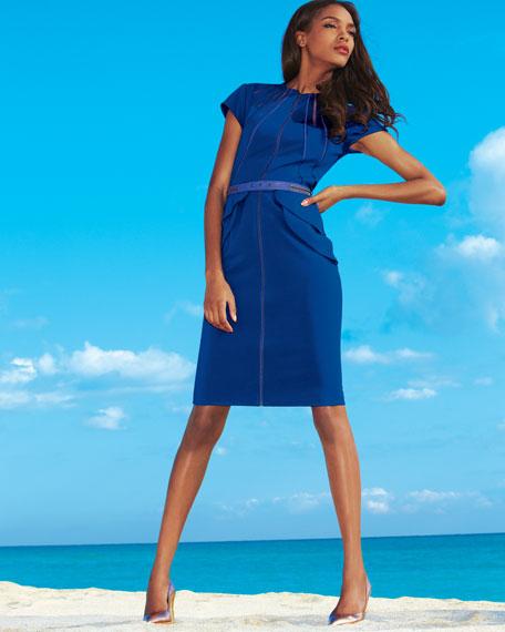 Zip-Front Belted Dress