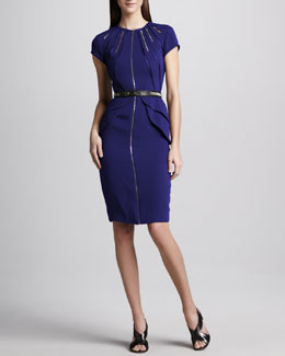 Catherine Deane Zip-Front Belted Dress