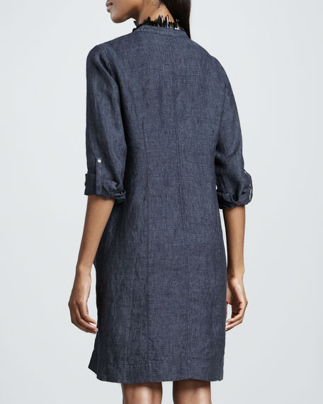 Washed Linen Snap-Button Dress, Denim