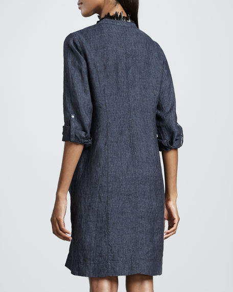 Washed Linen Snap-Button Dress, Petite