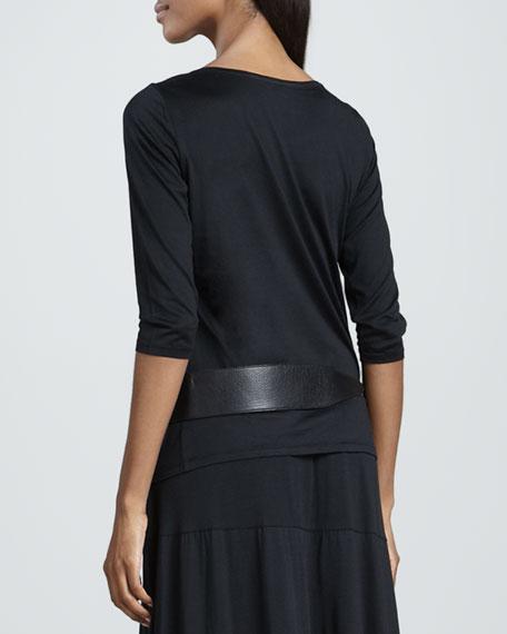 Three-Quarter-Sleeve Silk-Cotton Top