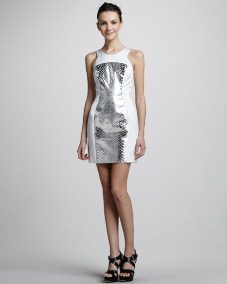 Milly Snake-Print-Panel Dress