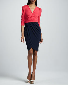 JilRo Kai Colorblock-Wrap Dress