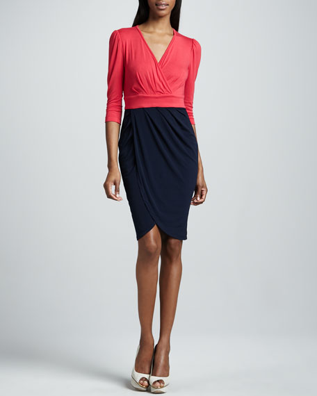 Kai Colorblock-Wrap Dress, Women's