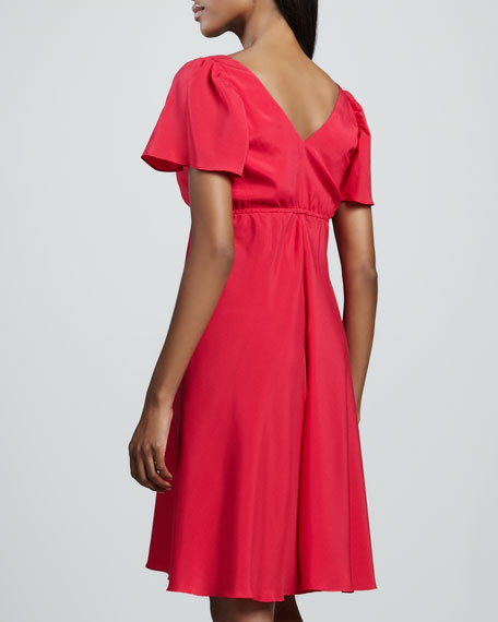 Bardot Pleated-Bodice Dress