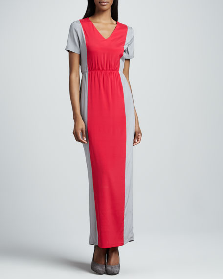 Jane Colorblock Charmeuse Maxi Dress, Women's