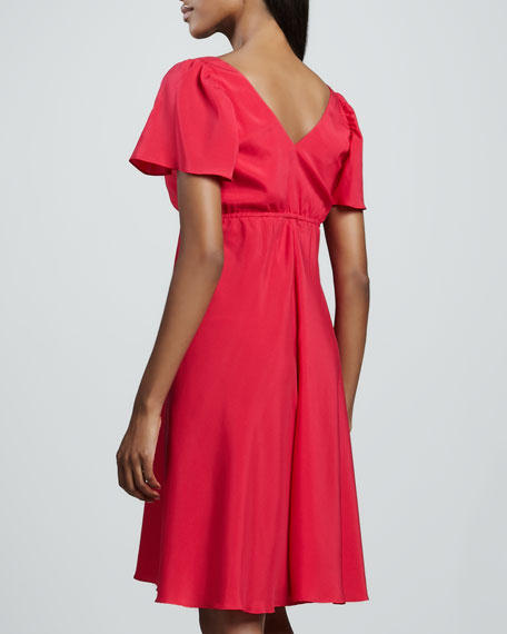 Bardot Pleated-Bodice Dress, Women's