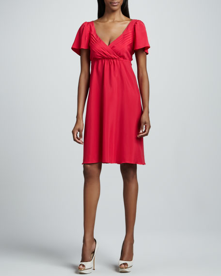 Bardot Pleated-Bodice Dress, Women's