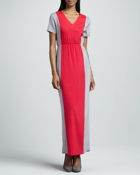 Jane Colorblock Charmeuse Maxi Dress