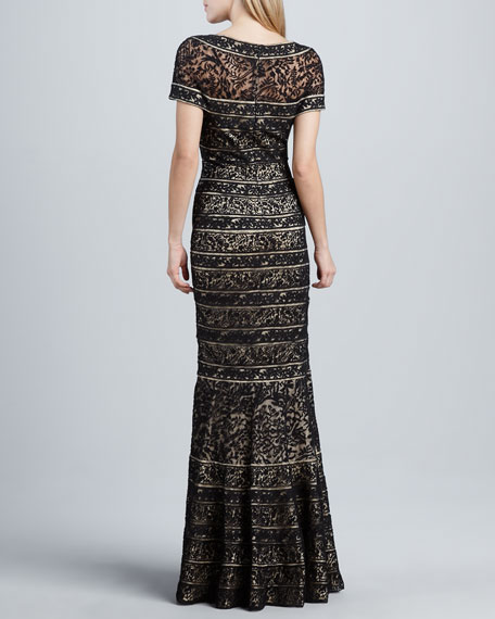 Short Sleeve Lace Mermaid Gown
