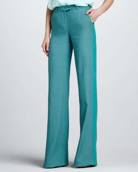 Jett Wide-Leg Pants, Dark Cyan/Blue