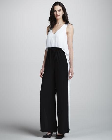 Bcbgmaxazria Black White Wide Leg Jumpsuit