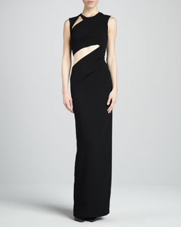 BCBGMAXAZRIA High-Neck Evening Gown with Cutouts
