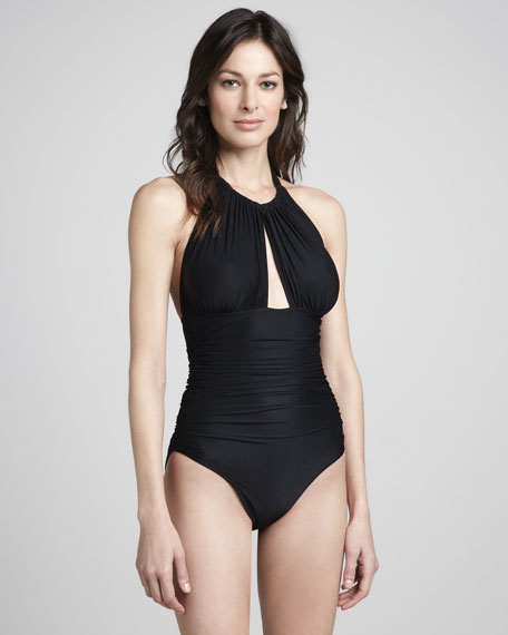 Ruched Halter Maillot Swimsuit, Black