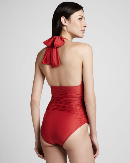 Ruched Halter Maillot Swimsuit, Red