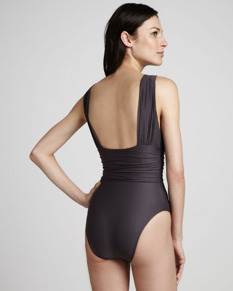 Ruched Drape-Front Maillot Swimsuit