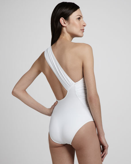 Bijoux Ruched One-Shoulder Maillot Swimsuit