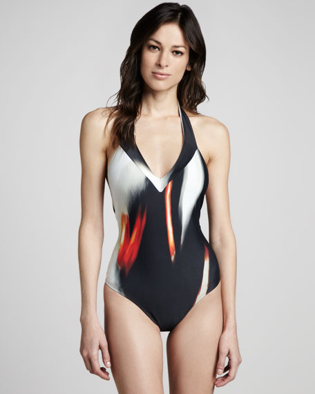 Runway Printed V-Neck Maillot Swimsuit