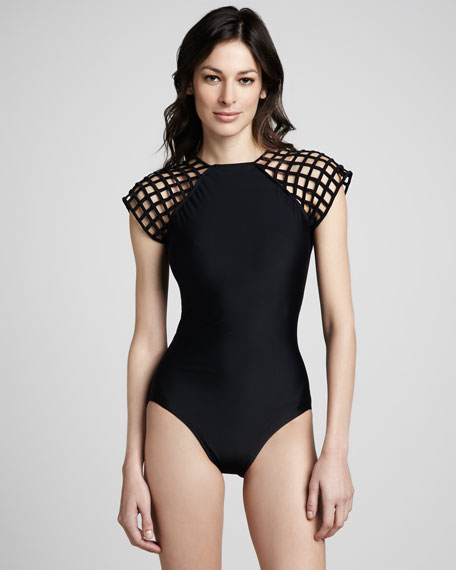 Lattice-Sleeve One-Piece Swimsuit