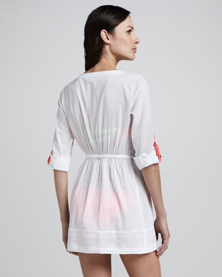 Walker Button-Down Coverup Shirtdress, White/Coral