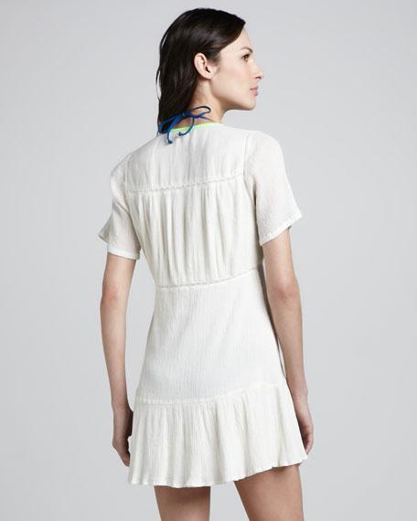 Serrana Low V-Neck Coverup Dress, White/Lime