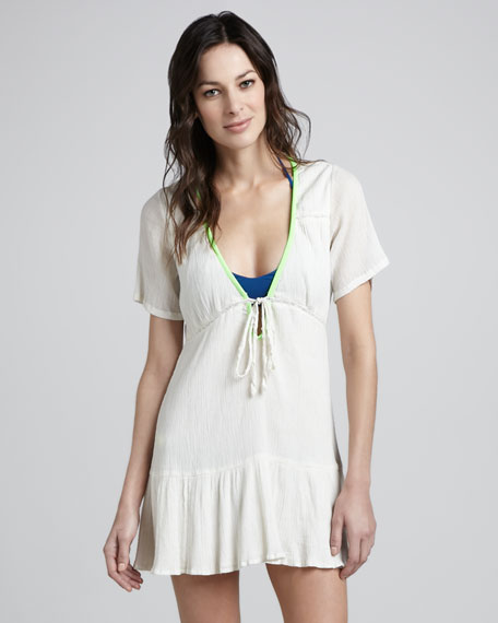 Serrana Low V-Neck Coverup Dress, White/Lime