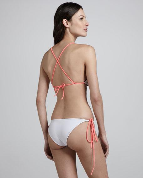 Raglan Reversible String Bikini, Black/White/Coral