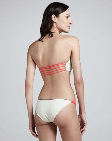 Reversible Halter Bikini, Black/White/Coral