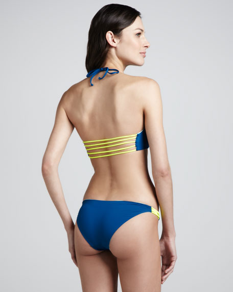 Reversible Halter Bikini, Peacock/Mint/Yellow