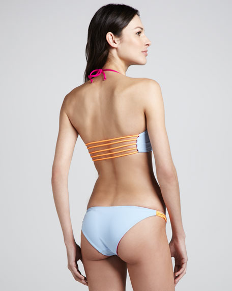 Reversible Halter Bikini, Fuchsia/Mint/Orange