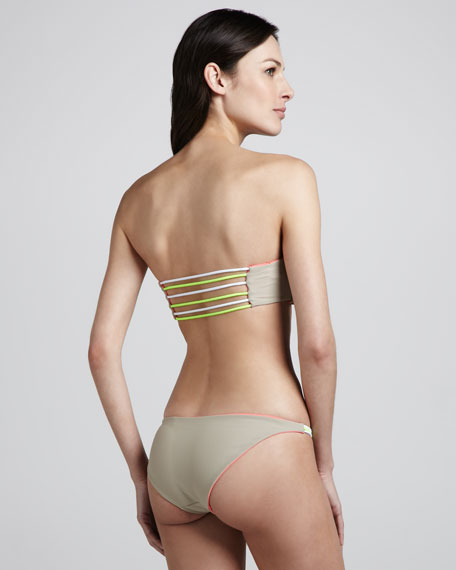 Reversible Twist Strapless Bikini, Coral/Nude
