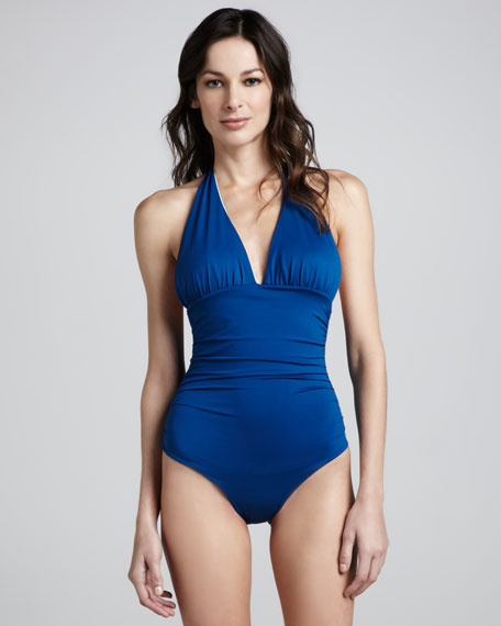 Reversible Crisscross One-Piece Swimsuit, Peacock/Mint
