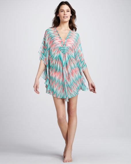 Beaded Ikat-Print Chiffon Coverup Tunic