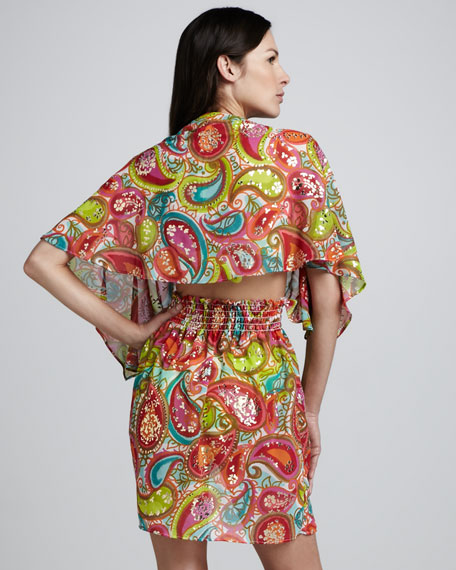 Izu Paisley Printed Sequined Coverup