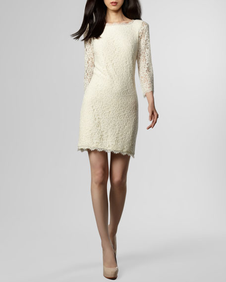 Zarita Lace Shift Dress, Ivory