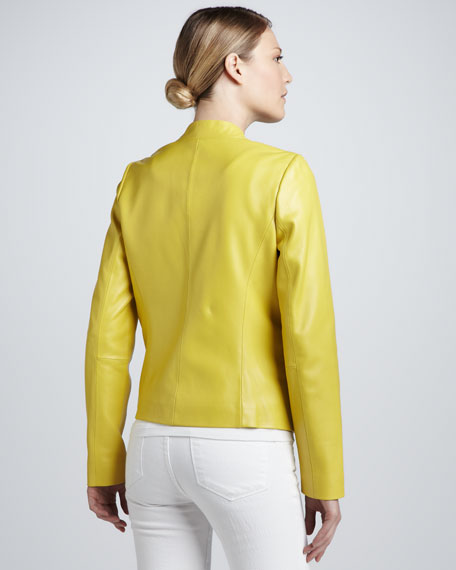 Overlapped Sculpted Front Leather Jacket