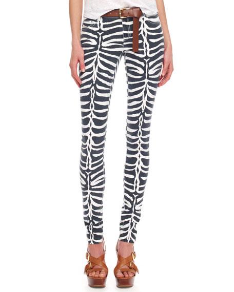 Zebra-Print Skinny Jeans