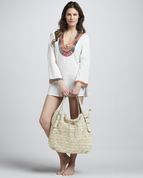 Woven Buckle-Strap Tote Bag