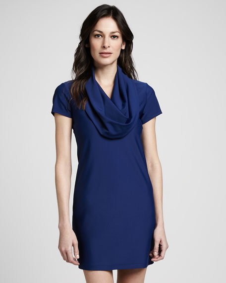 Cowl Neck Hooded Dress: Cover Hooded Cowl-Neck Dress