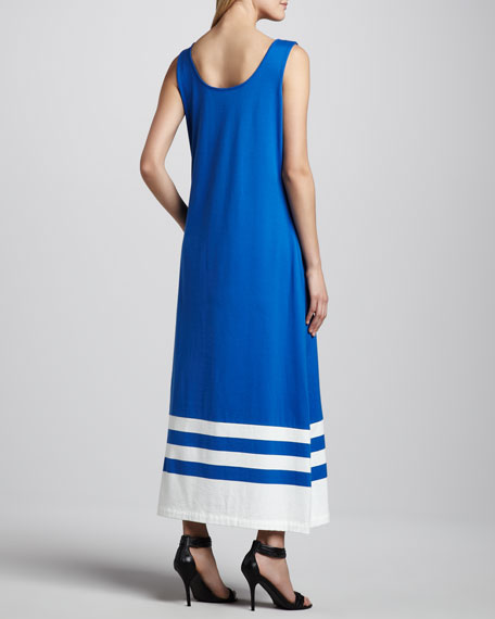 Border-Stripe Maxi Tank Dress