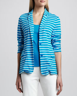 Joan Vass Striped Knit Two-Button Jacket