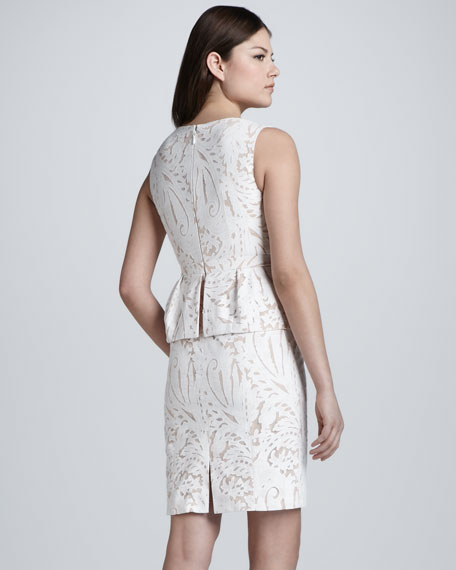 Paisley Sleeveless Peplum Dress