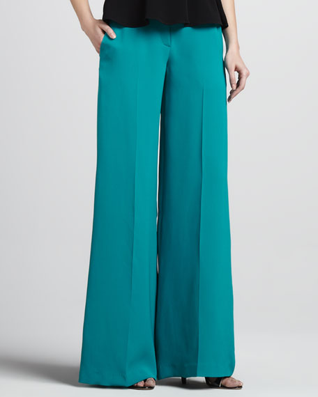 Wide-Leg Pants, Teal