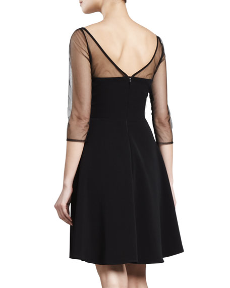 Sheer-Sleeve Dress, Black