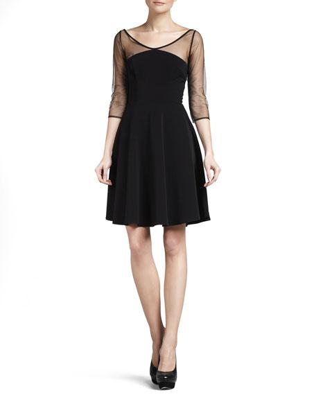 Sheer-Sleeve Dress, Black