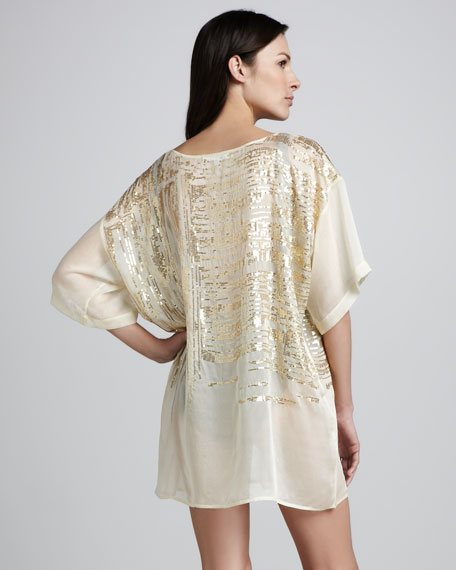Sheer Sequined Coverup Tee
