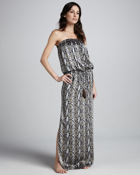Snake-Print Blouson Maxi Dress
