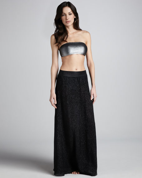 Shimmery A-Line Skirt, Black